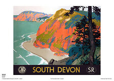 DEVON RETRO VINTAGE RAILWAY TRAVEL POSTER ADVERTISING HOLIDAY ART PRINT