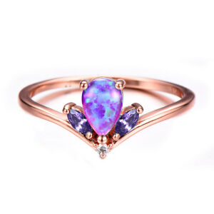 Crown Style Pink Fire Opal Amethyst Rose Gold Plated Silver Round Ring Size 7-10