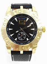Herrenuhr Jay Baxter Lederarmband XXL Watch Uhr Groß Gold Schwarz Chrono Look
