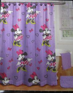 NEW - Jay Franco Disney Minnie Mouse Purple Fabric Shower Curtain & 12 Hooks
