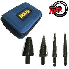 IRWIN 4 PCE UNIBIT HIGH SPEED STEEL STEP METRIC DRILL BIT SET SOFT CASE 1878433