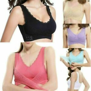 Front Cross Side Buckle Wire Free Lace Bra Lift up Soft Breathable Sport S - XL