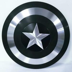Medieval Black Metal Captain America Shield, Round Shield Replica- Decor Shield
