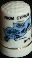 FROM CYPRUS WITH LOVE ISLAND OF VENUS MAP NICOSIA BONE CHINA SOUVENIR THIMBLE