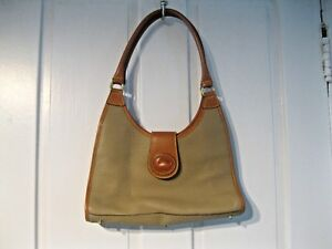 DOONEY & BOURKE TWO TONED PEBBLE & SADDLE LEATHER HAND BAG