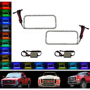 08-10 Ford F-250 Multi-Color Changing LED RGB SMD Halo Upper Headlight Rings Set
