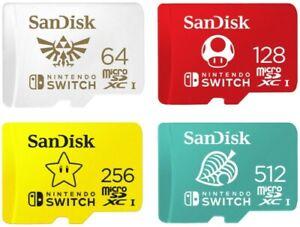 SanDisk Nintendo Switch Micro SD SDXC Card 64GB 128GB 256GB 512GB SDSQXAO lot