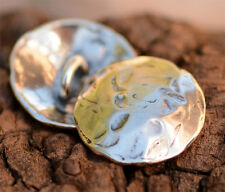 One Handcrafted Sterling Silver ORGANIC Button Clasp use with Wrap Bracelet