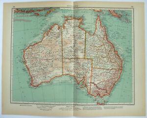 Original 1937 German Map of Australia by Velhagen & Klasing. Vintage