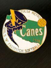Girls A Fastpitch Softball Canes 1996 ASA Tulsa Metro Pinback Lapel Pin Hat Pin