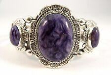 Navajo Sterling Silver Handmade Charoite Bracelet - Augustine Largo