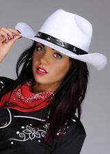 Adult Womens White Felt Cowboy Hat