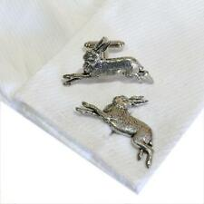 Cufflinks English Hand Made Hunting New Silver Pewter Hare Rabbit High Quality