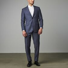 NWT Metallic Blue Paolo Lercara Suit Modern Fit 100% Wool Made in Italy Size 40