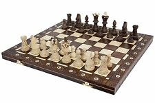 "Wooden Handmade Chess Set European Vintage Hand Carved High Detail 21""x 21"""