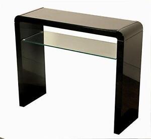 Atlanta Black Gloss Medium Console Hall Table With Glass Shelf Hallway Dining