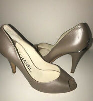 27ff59219e87 New CHANEL platinum luxury leather open toe shoes pumps 38.5 Made in Italy  + 695