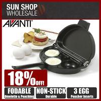100% Genuine! AVANTI Non-stick Foldable Omelette & Egg Poacher Pan! RRP $47.95!