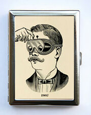 Steampunk mustache Cigarette Case Business Card Holder victorian goggles odd