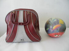 Vintage Brunswick Aquarium 15lb. Bowling Ball Viz-a-Ball and Bag, Retro, Vintage