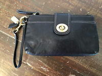 Coach Black Leather Wristlet Wallet with Turnlock (9 x 5 x 1) w Brass Hardware