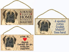 """English Mastiff Dog Sign Plaque 10""""x5"""" House not Home Spoiled Lives Here Love"""