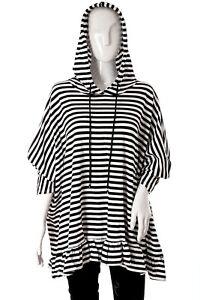 """NEW Women's Italian Lagenlook Striped Loungewear HOODIE  Oversized 70""""  Frilled"""