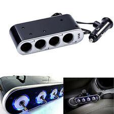 4 Way Car Multi Socket Cigarette Lighter Splitter USB Charger Adapter DC 12/24V