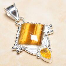 "Handmade Golden Tiger's Eye Gemstone 925 Sterling Silver Pendant 2"" #P07420"