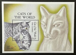 GAMBIA CATS OF THE WORLD STAMPS SS STAMP SHOW 2000 MNH FELINE CAT & KITTEN 2288