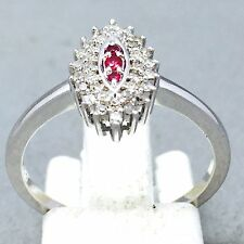 """AWESOME 9CT WHITE GOLD RUBY & DIAMOND ANNIVERSARY DRESS RING SIZE """"N½""""   1103"""