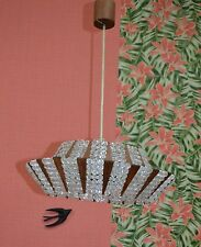 Vintage Noble Lampe 60er Jahre Plafonnier Cristal/ Teck OPTIQUE D scintillant