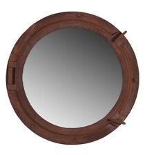 "Rust Finish 24"" Porthole Mirror Nautical Resin Round Ship Boat Wall Mount Hang"