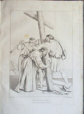 ✅Stampa incisione Sacra 1850s Gesù riceve la Croce Sabatelli Nardelli