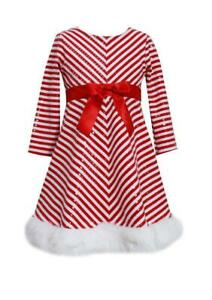 BONNIE JEAN Girls 10 Santa Sequin Candy Cane Christmas Dress NWT $64