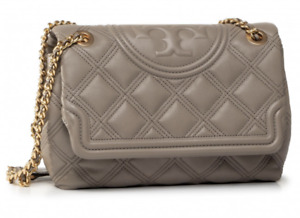 Tory Burch Fleming Soft Quilted Convertible Grey Heron Bag Authentic New