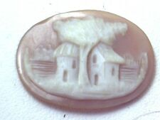 NOS Antique Vintage Hand Carved Oval Shell CAMEO Stone House & Tree Scene #N404