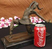 Art Deco Cast Bronze DEMETRE CHIPARUS Lovely Young Woman Statue Sculpture Marble