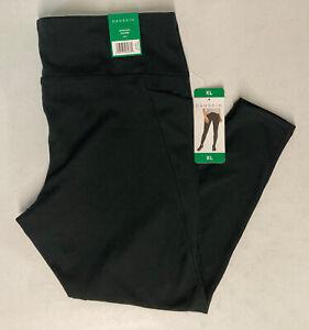 Danskin Women's Interlock Legging XL Pants Side Pockets BLACK Active Yoga