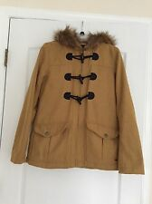 O'NEILL Woman's Faux Fur Hooded Peacoat - Old Gold - Medium - NWOT