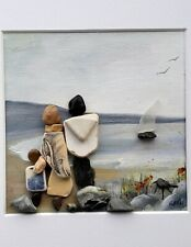 pebble picture family of 3 beach pottery daughter or son original painting ooak