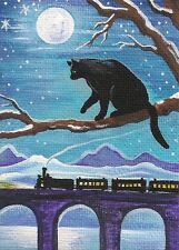 ACEO PRINT OF PAINTING RYTA BLACK CAT FOLK WINTER TRANS SIBERIAN XMAS RAILROAD