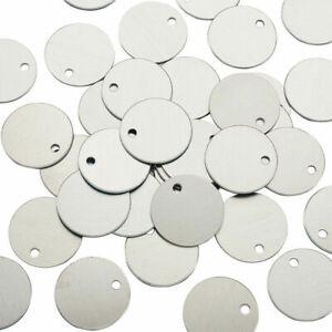 Aluminum Blank Pendants Stamping Tags Flat Round 25 x 1.4mm 10 pk