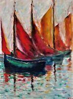 "Originaloil painting, harbor scene, signed by Nalan Laluk: ""Fishing Time"""