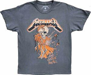 Mens Metallica & Justice For All Grey Vintage Retro Rock N Roll T-Shirt Tee New