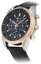 Seiko Men's Blue and Rose Gold Plated Chronograph Watch.