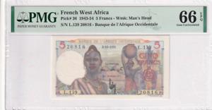 1943-54 French West Africa 5 Francs P-36 PMG 66 EPQ Gem UNC