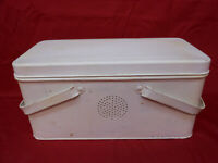Vintage Tin Sewing Lunch Storage Box with Handles