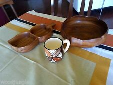 Vintage  HAWAII MONKEYPOD LEAF tray BOWL SALAD KAPA DESIGS COFFEE MUG TIKI BAR