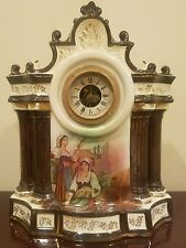 Antique Porcelain China Transferware Mantel Clock Made in England, New Haven